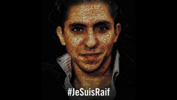 Affiche de soutien d'Amnesty international à Raif Badawi.