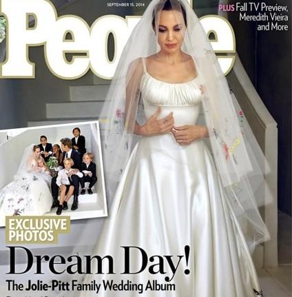 La robe de mariée d'Angelina Jolie était brodée de dessins de ses enfants