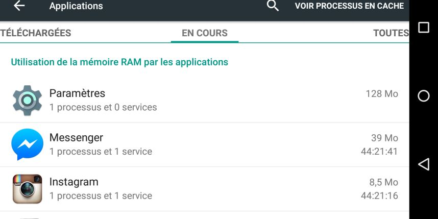 Les différentes applications en cours sur Android