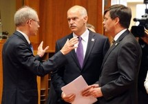 Herman Van Rompuy, George Papandreou et Jan Peter Balkenende