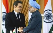 Nicolas Sarkozy et le Premier ministre indien Manmohan Singh