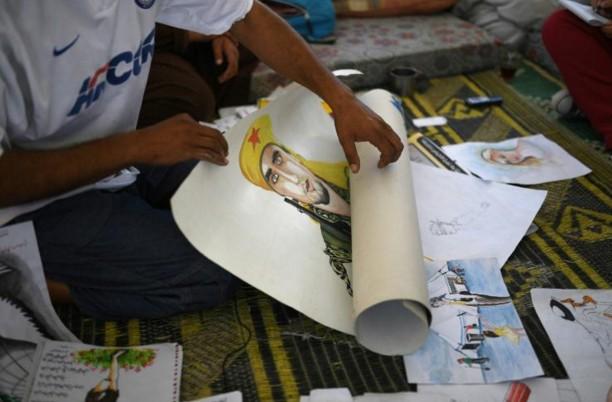 Un Syrien déplacé par les combats peint sa douleur