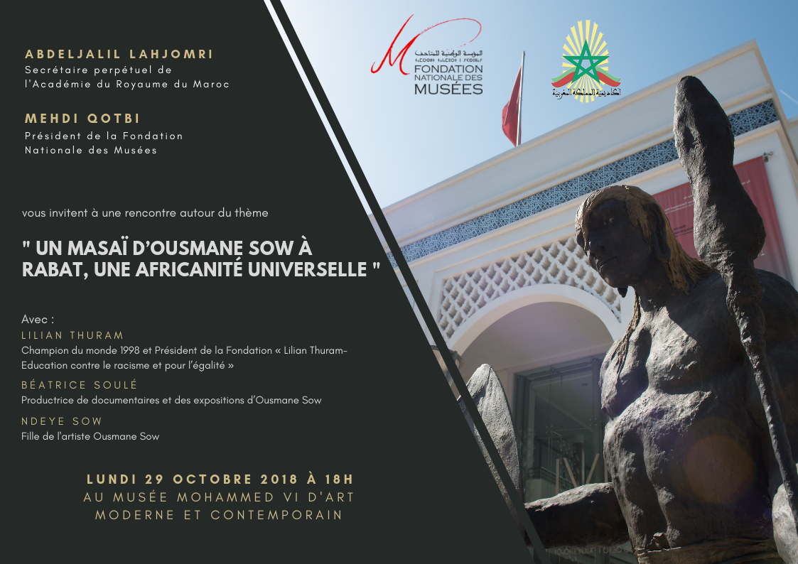 """Rabat: Présentation de l'oeuvre """"Un Masai"""" du sculpteur sénégalais Ousmane Sow, un hommage à l'art africain"""