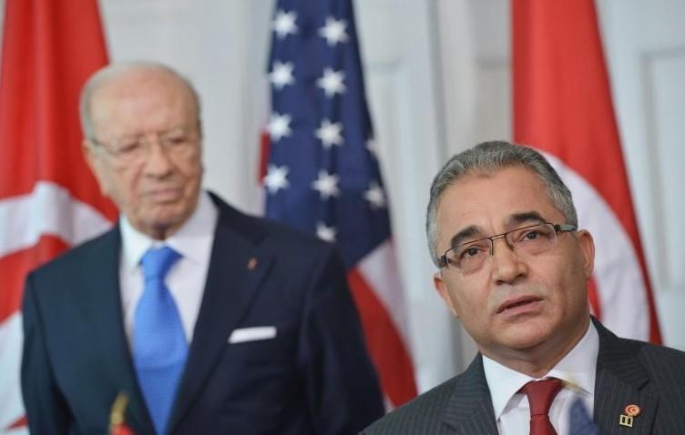 Mohsen Marzouk, secrétaire général de Nidaa Tounes devant le président tunisien Béji Caid Essebsi